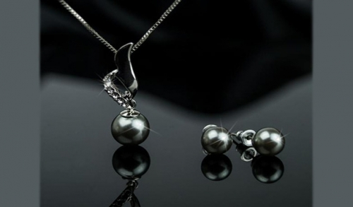 Black Pearl Earrings Set Opzione 7