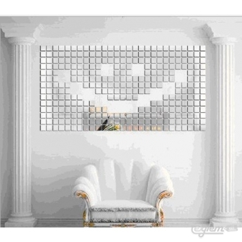 Tessere mosaico decorative a specchio autoadesive per decorazione pareti colore argento - Pareti a specchio ...