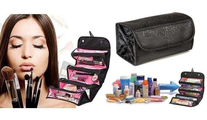 Idea Regalo di Natale Roll-n-go Cosmetic Bag Organizer Per Trucchi e Cosmetici